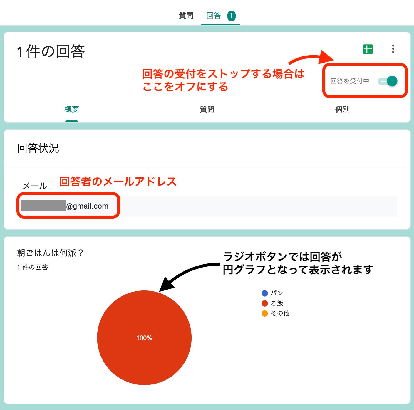 ラジオボタンは円グラフで表示